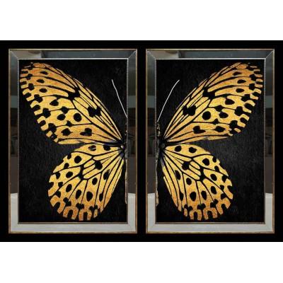 Sarı Kelebek Aynalı Tablo