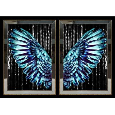 Mavi Kanat Aynalı Tablo