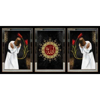 Allah(CC) Lafzı Semazen Aynalı Tablo