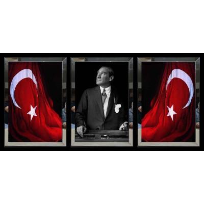 Türkiye Cumhuriyeti Bayrağı Atatürk Portresi Aynalı Tablo