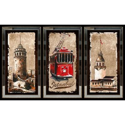 Galata Kulesi Tren Kız Kulesi Aynalı Tablo