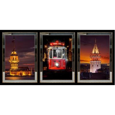 Kız Kulesi Tren Galata Kulesi Aynalı Tablo