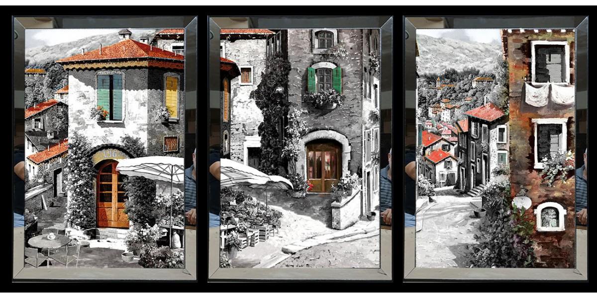 Renkli Binalar Aynalı Tablo